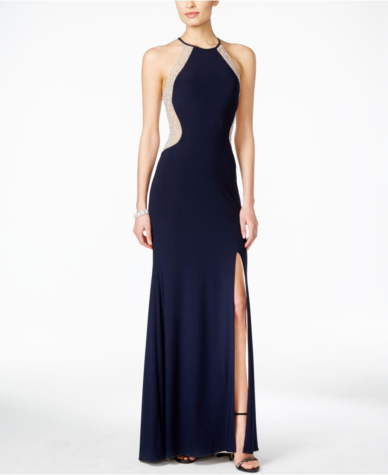 Lyst - Xscape Dazzling Illusion Halter Gown in Blue