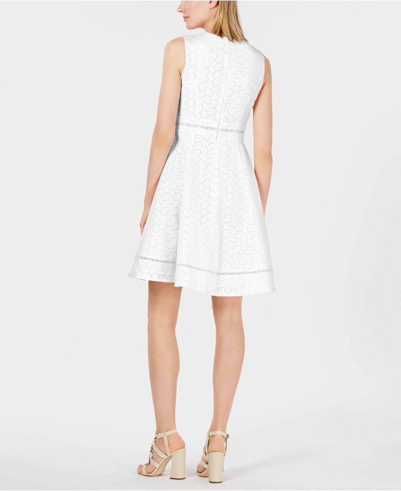 a6302933b1a Calvin Klein - White Eyelet Fit   Flare Dress - Lyst. View fullscreen