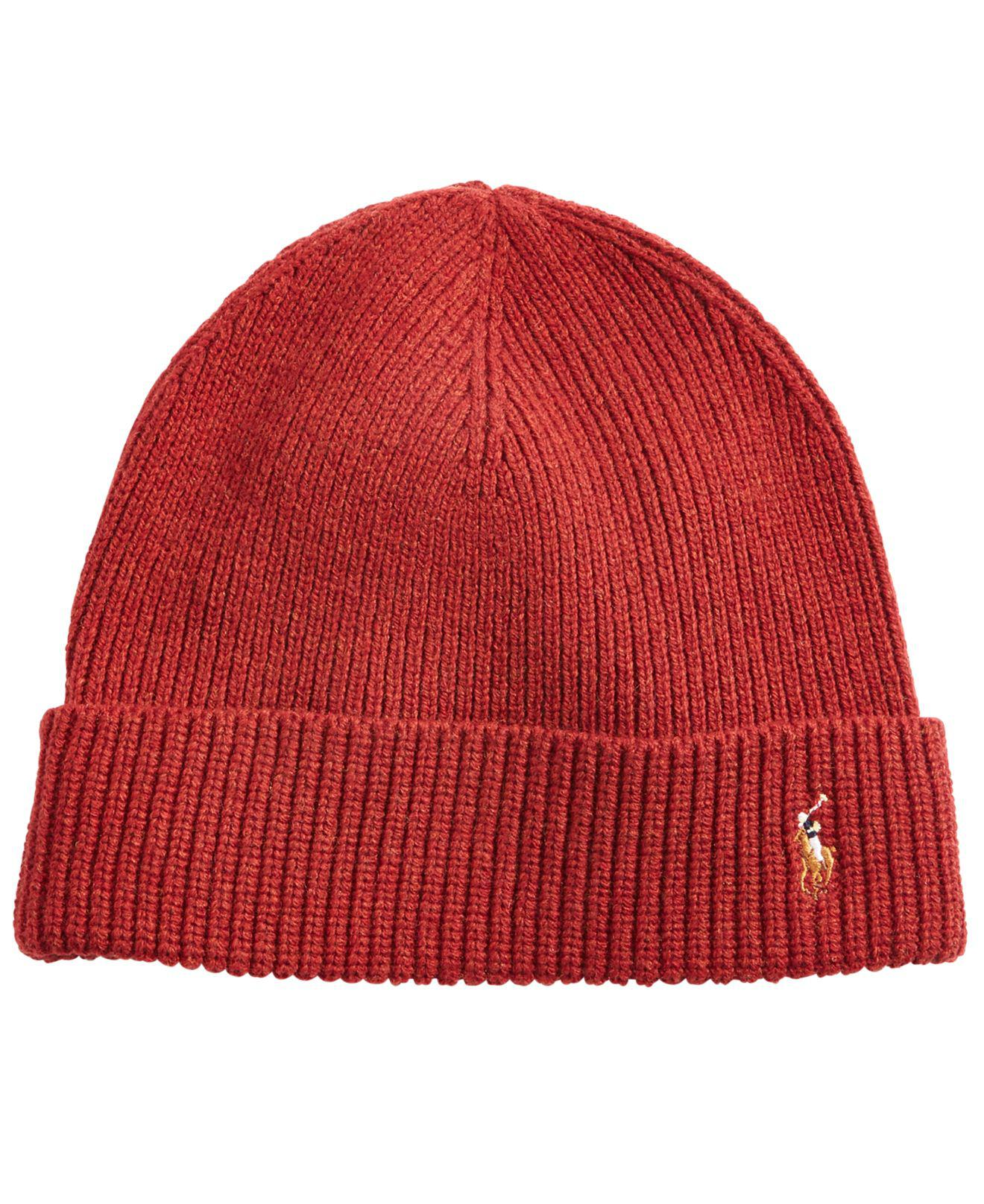 15341bcdc Polo Ralph Lauren Red Signature Merino Cuffed Beanie for men