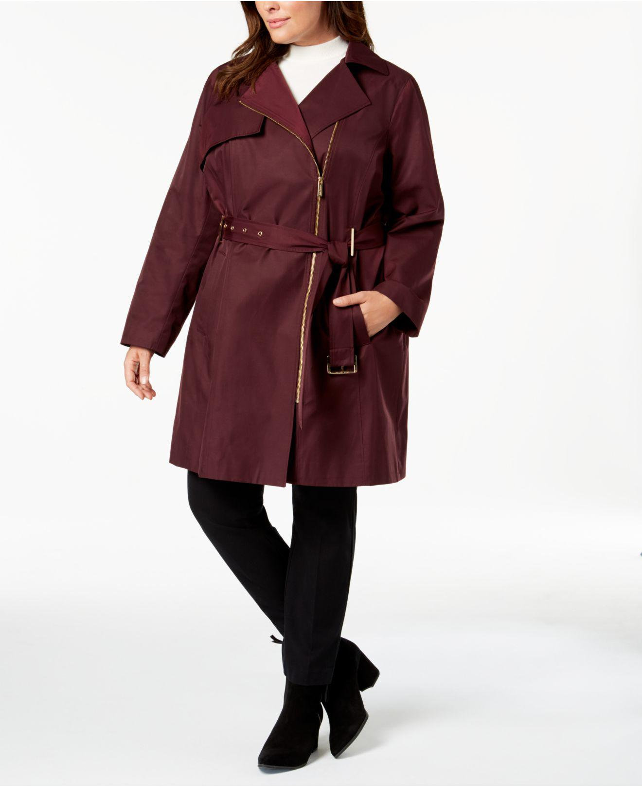 7056fc89dca Michael Kors - Red Michael Plus Size Asymmetrical Hooded Trench Coat - Lyst.  View fullscreen