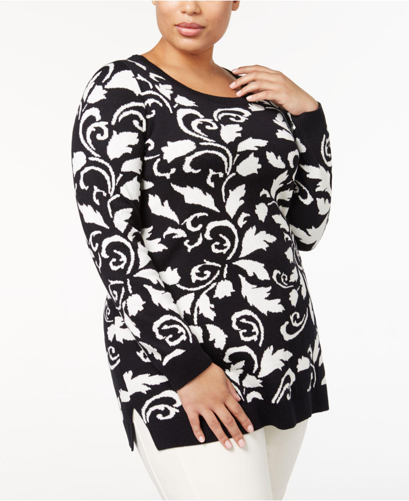 2935a9d7f3c Charter Club Plus Size Heart-print Sweater Tunic in Black - Lyst