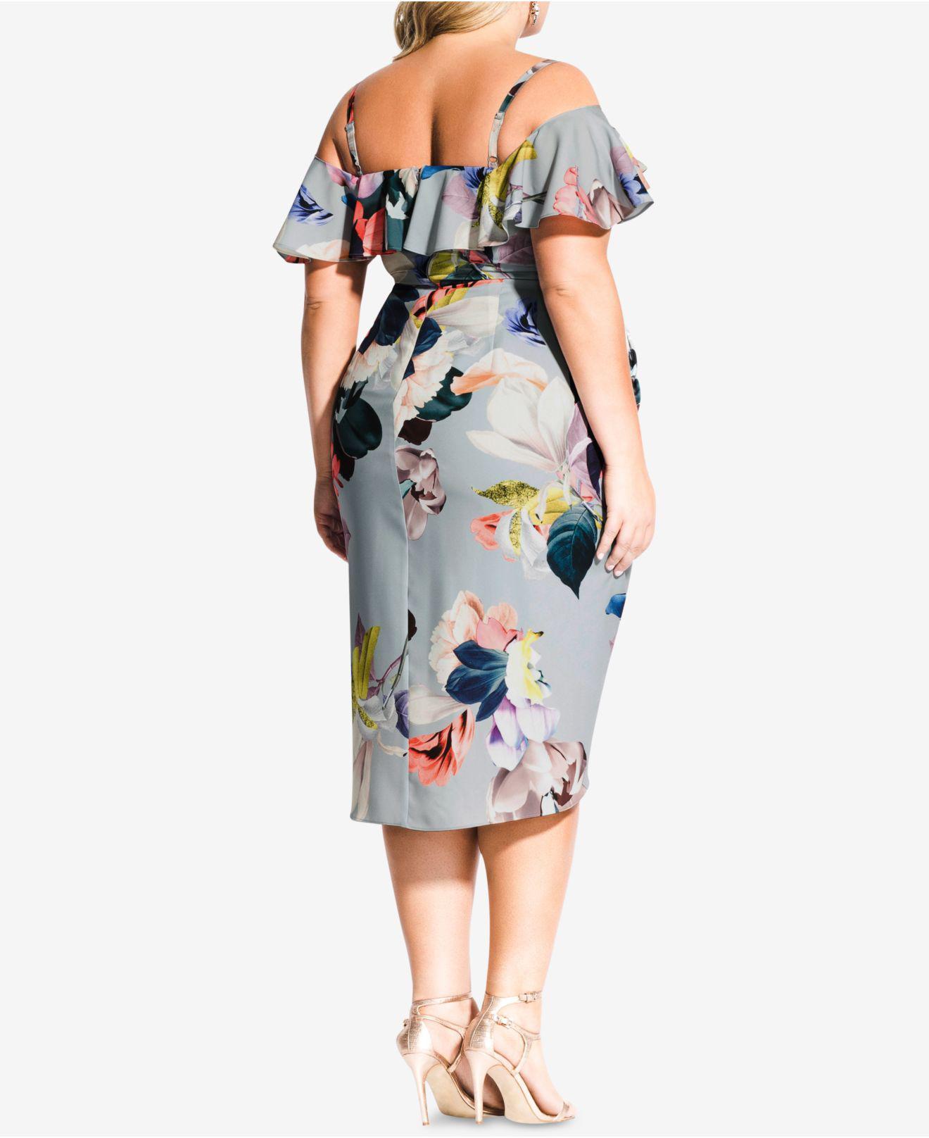 cccb32b590f8e Lyst - City Chic Trendy Plus Size Ruffled Faux-wrap Dress