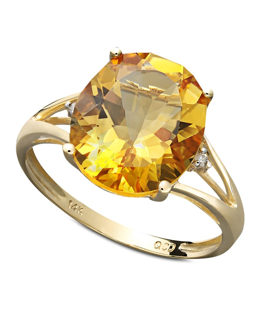 Macy s 14k Gold Ring Citrine 3 1 2 Ct T w And Diamond Accent Stateme