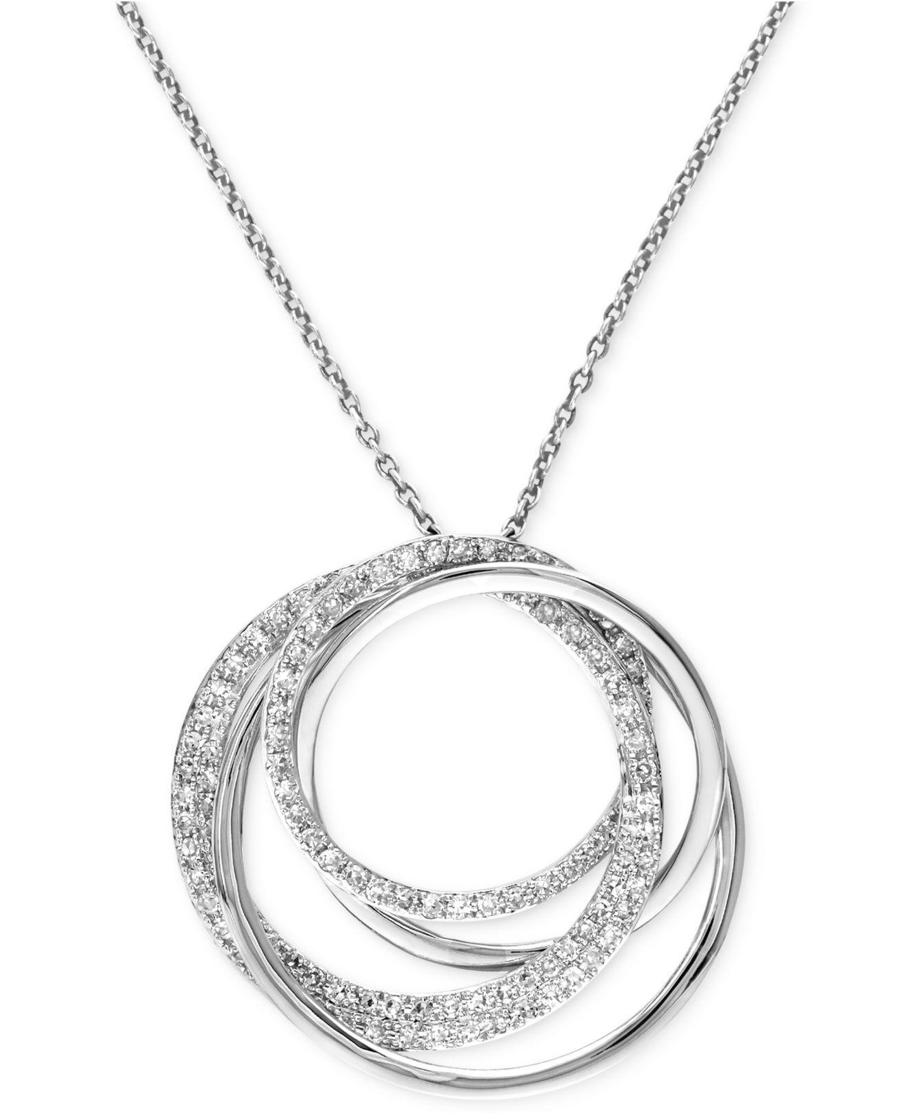 lyst effy collection diamond circle pendant necklace 3. Black Bedroom Furniture Sets. Home Design Ideas