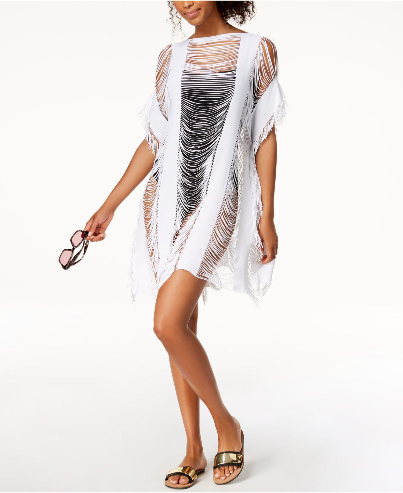 a11ddfce1a22a Kenneth Cole Sheer Fringe Cover-up in White - Lyst