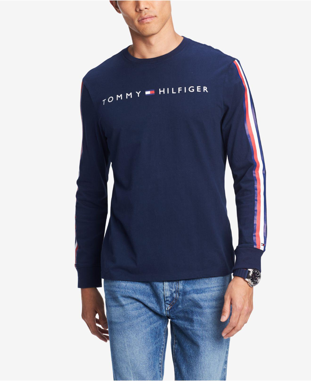 0ade47bc4fc Tommy Hilfiger. Men s Blue Knox Stripe-sleeve Logo Graphic T-shirt