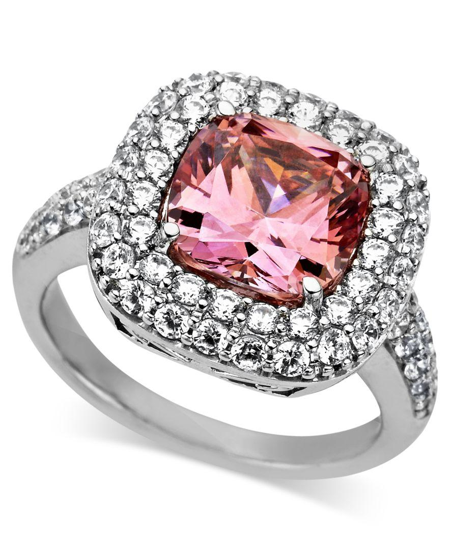 7d2de9f63 Arabella - Multicolor Sterling Silver Ring, Pink And White Swarovski  Zirconia Two Row Cushion Cut