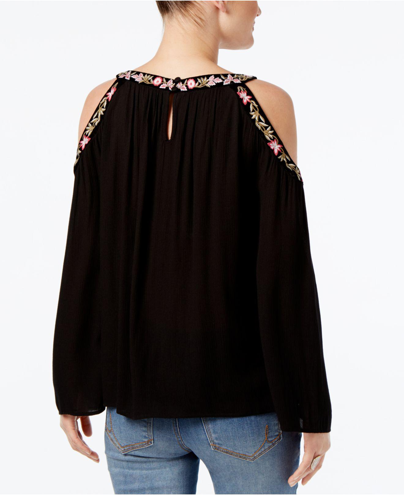 INC International Concepts Embroidered Cold-Shoulder Top