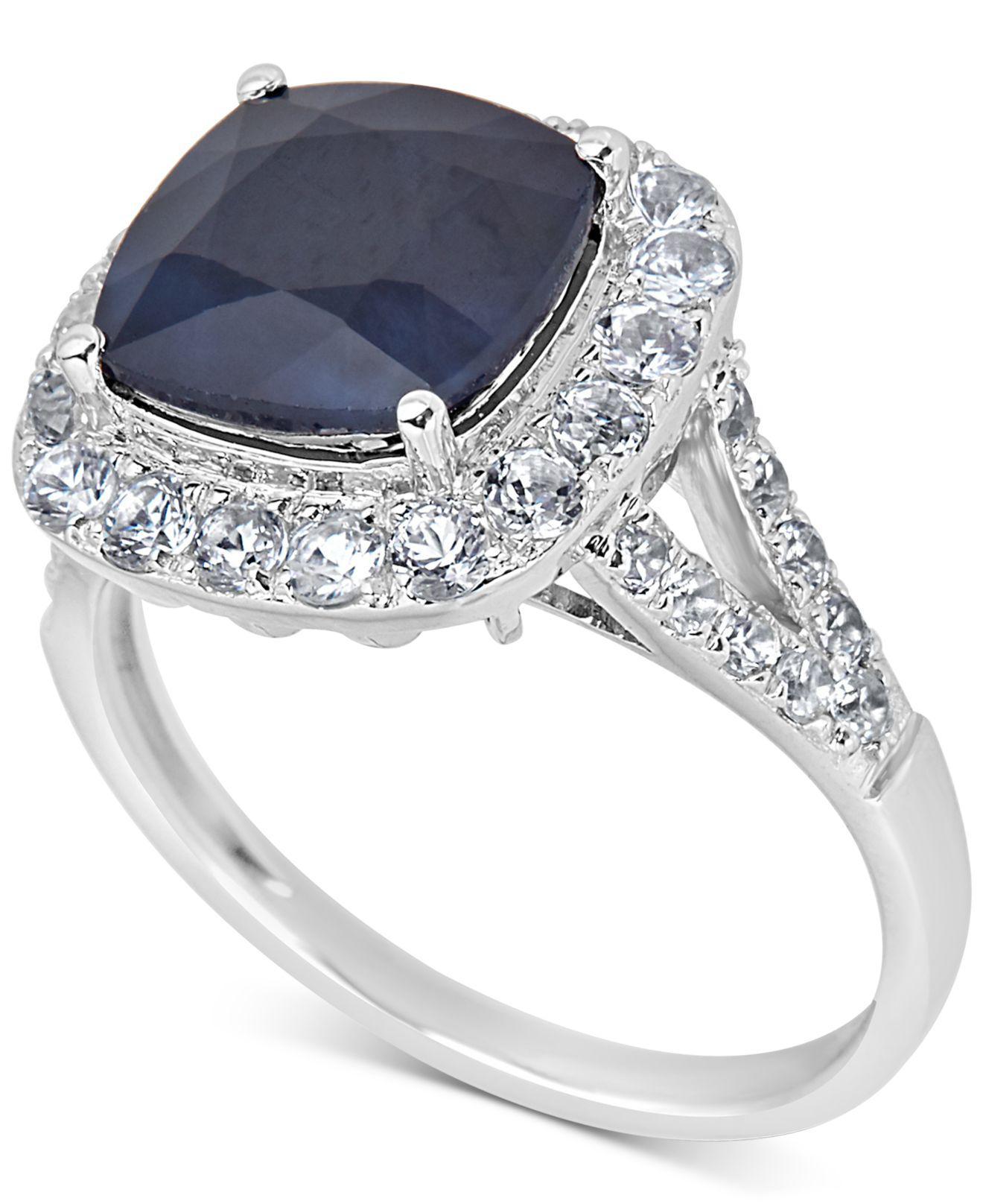 ec0fb0a31 Lyst - Macy's Sapphire (3 Ct. T.w.) & White Sapphire (1/3 Ct. T.w. ...