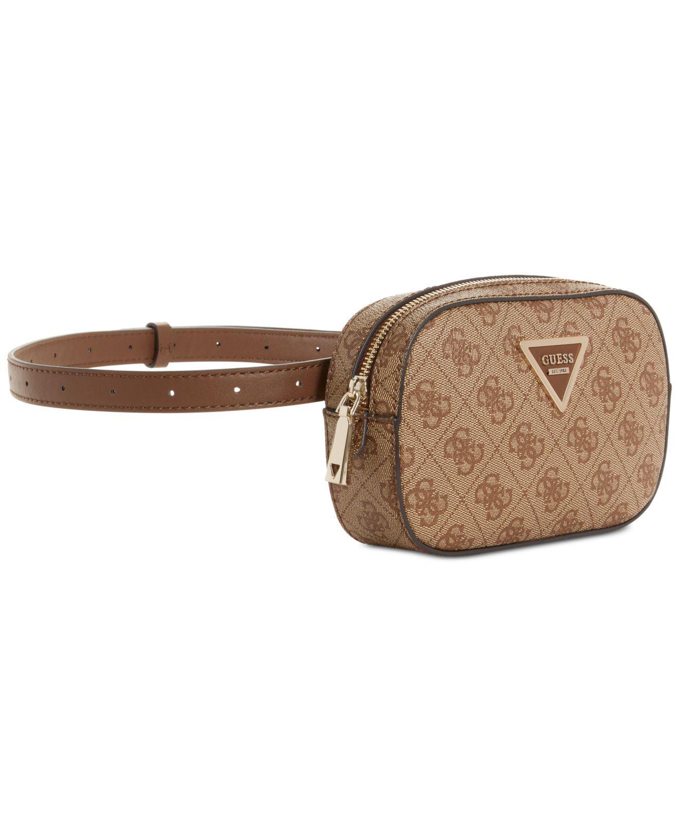 Lyst - Guess Varsity Pop Signature Belt Bag in Brown 47fe56d5c6050