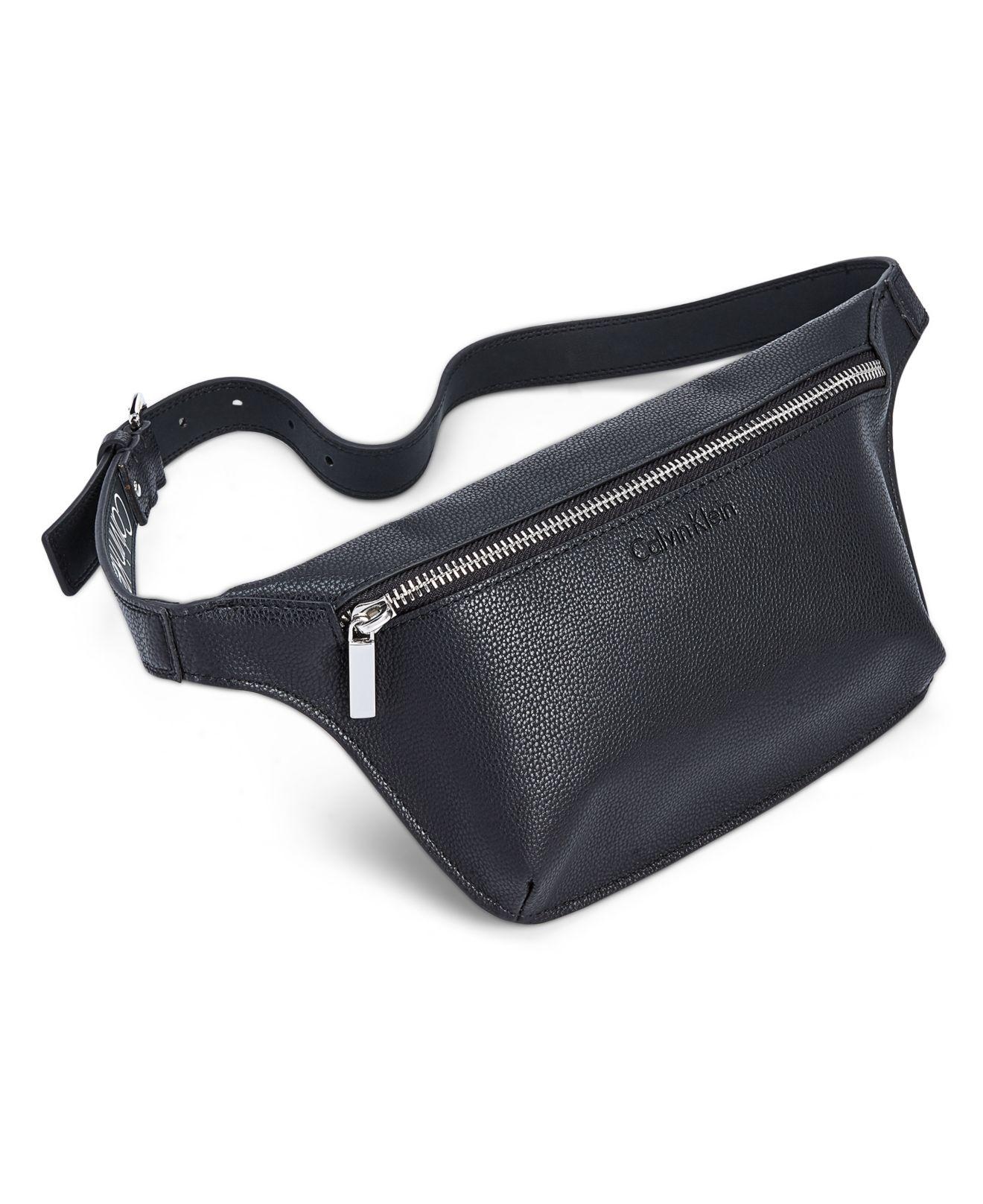 879a9728751 Calvin Klein Pebble Leather Fanny Pack in Black - Lyst