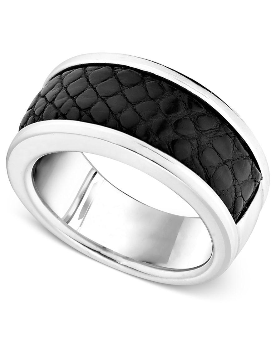 Macys Mens Wedding Rings: Macy's Men's Sterling Silver Ring, Black Alligator Inlay