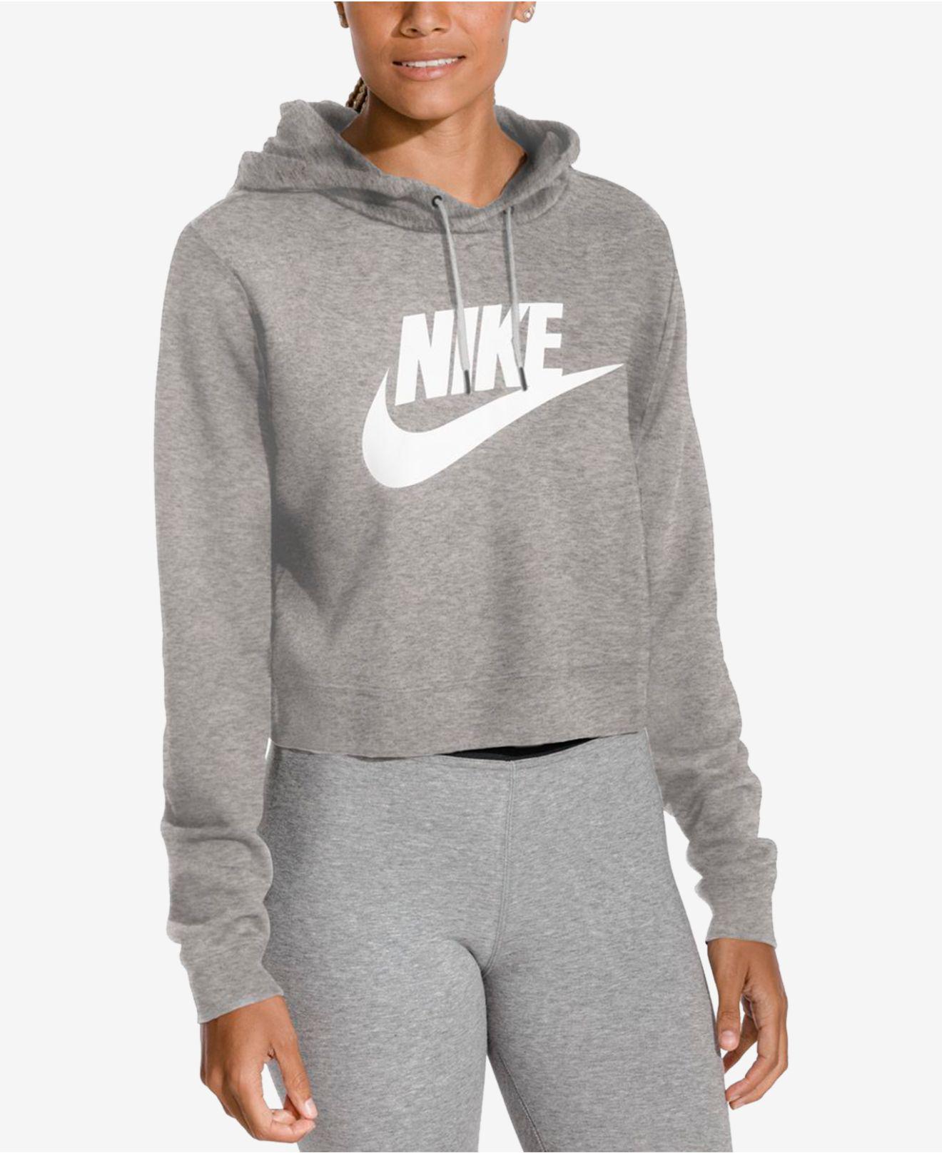 cec804c13811 Lyst - Nike Sportswear Rally Logo Cropped Fleece Hoodie in Gray