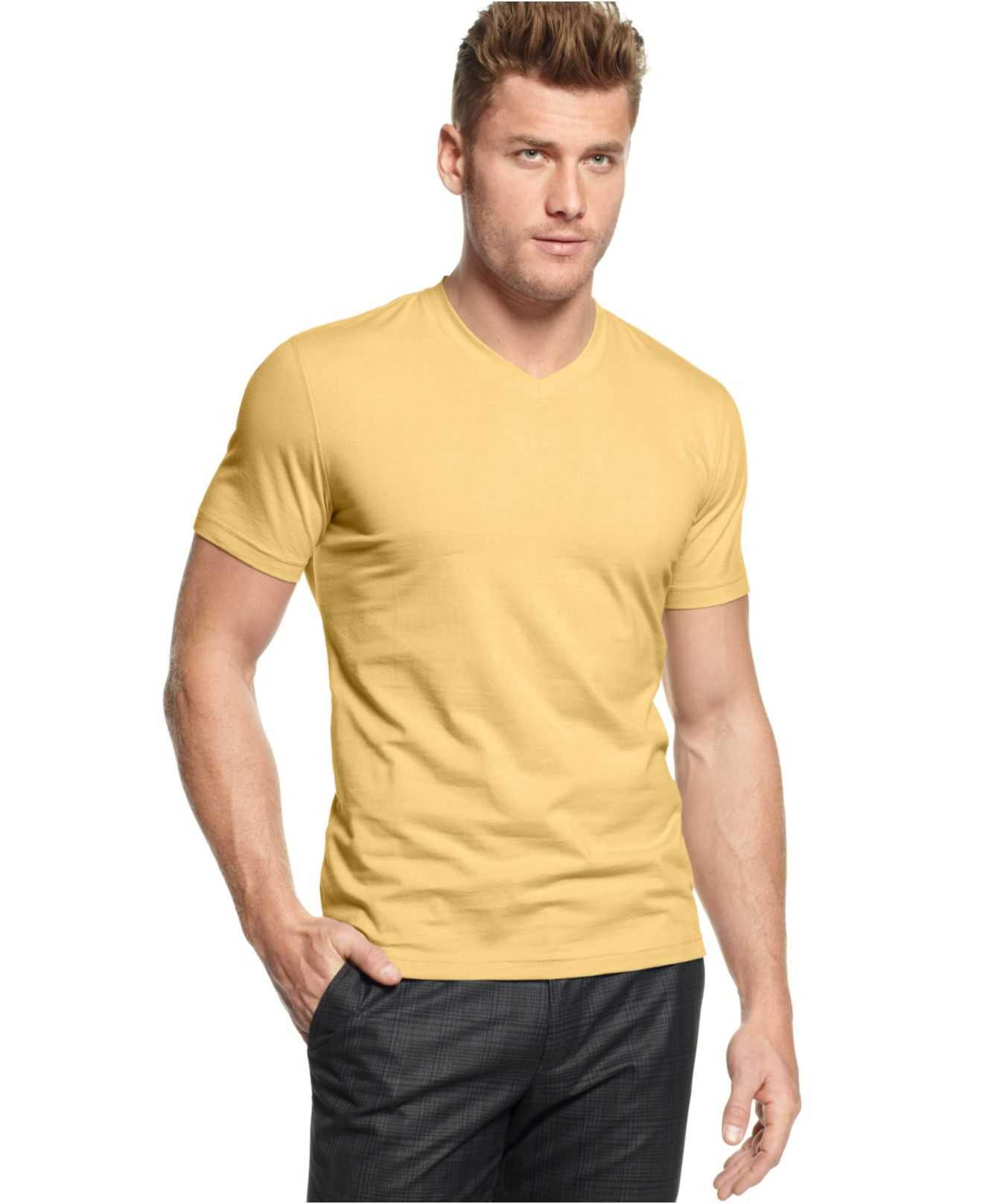 Alfani big and tall stretch v neck t shirt in yellow for for Tall v neck t shirts
