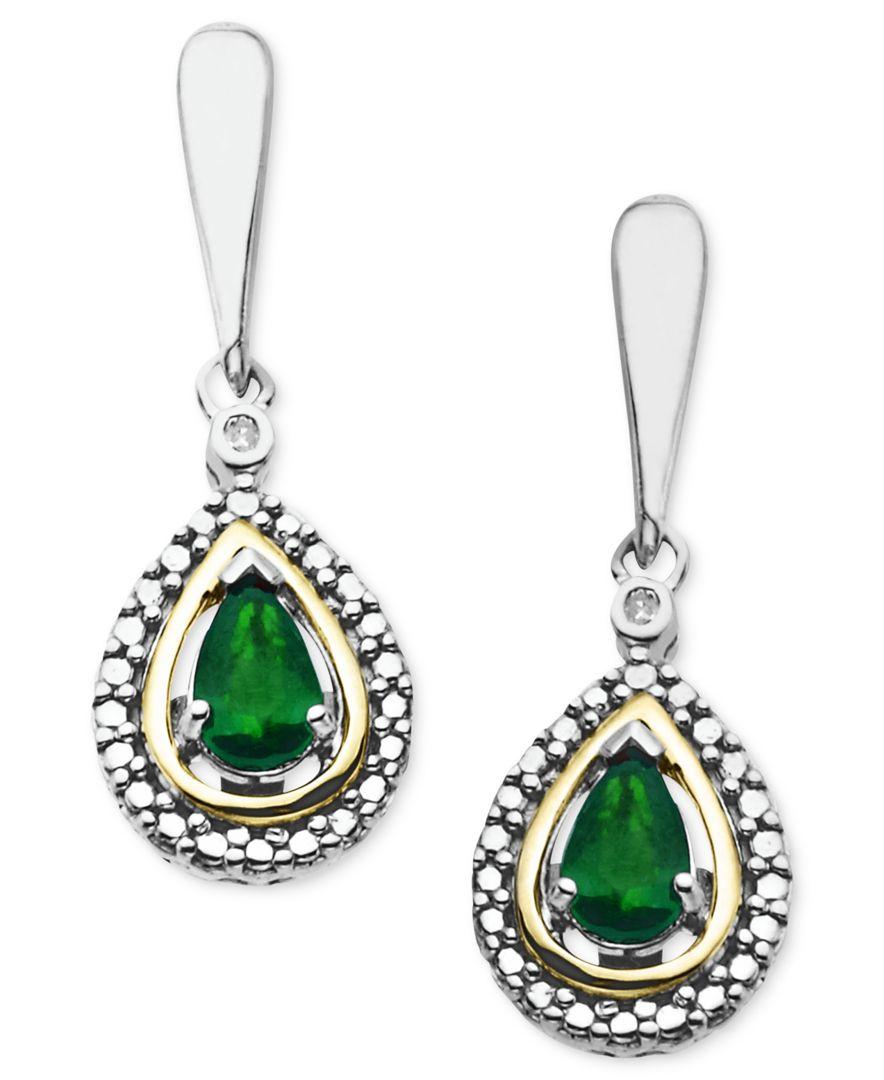 macy 39 s 14k gold and sterling silver earrings gemstone 3
