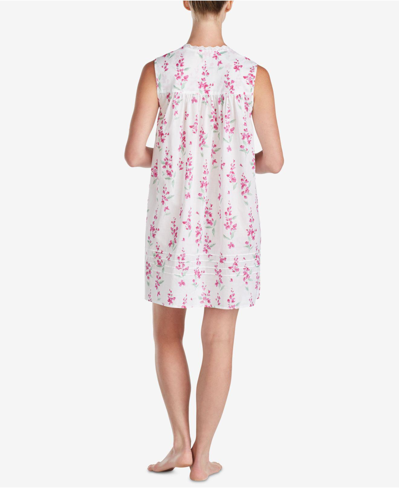 Lyst - Eileen West Lace-trim Woven Cotton Nightgown in Pink abb236254