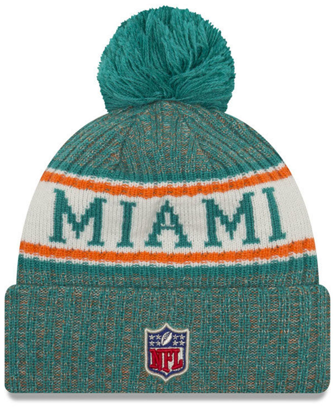 new style fcfb1 cc494 get new era nfl sideline miami dolphins bobble hat team colours 06770  5472c  italy lyst ktz miami dolphins sport knit hat 4d5dd 244a0