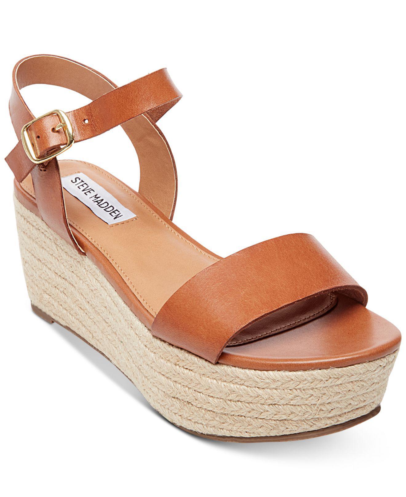 5f5da3bd0425 Lyst - Steve Madden Busy Espadrille Wedge Sandals in Brown