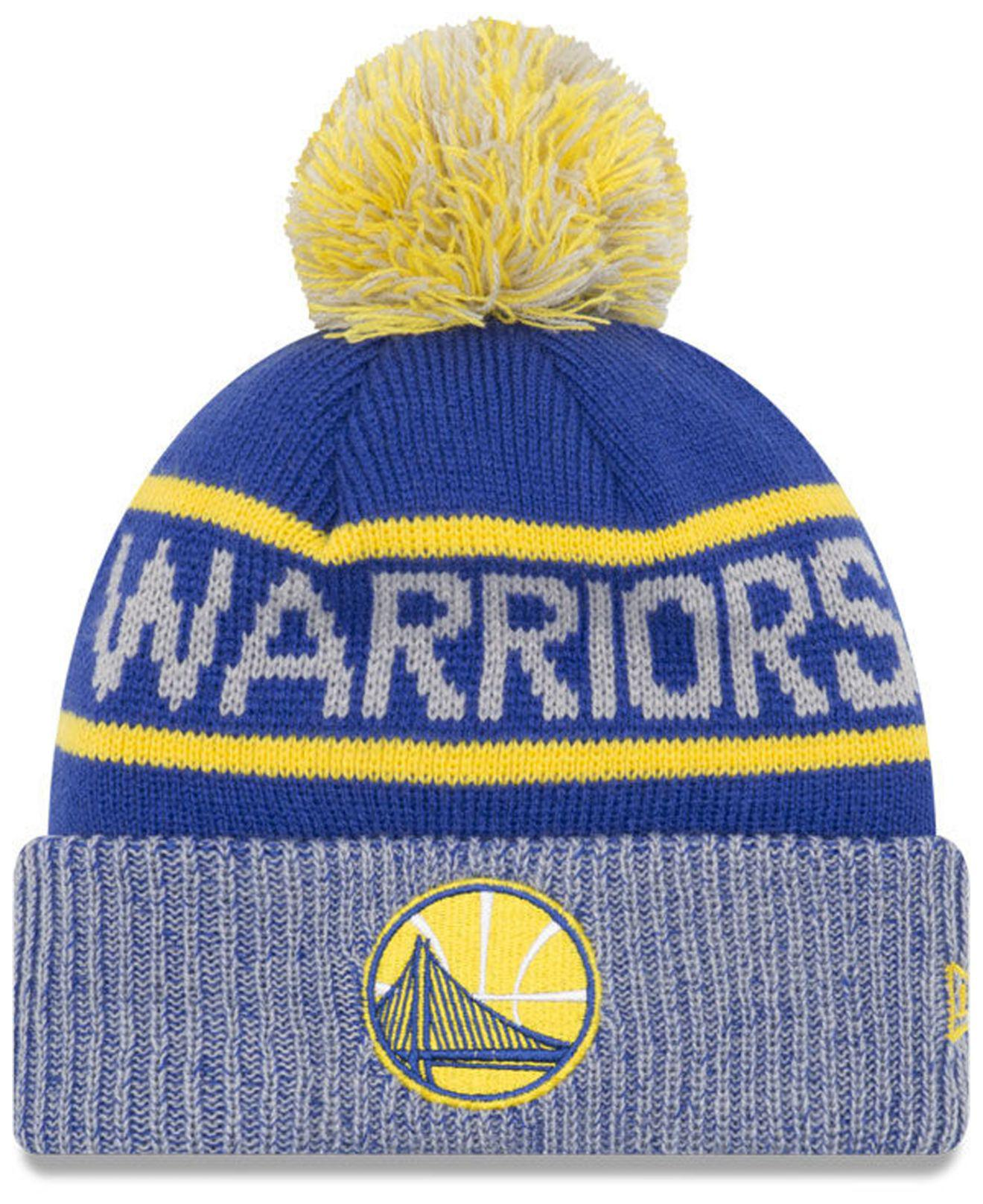best loved 0b07f 2d05a KTZ Golden State Warriors Court Force Pom Knit Hat in Blue for Men ...
