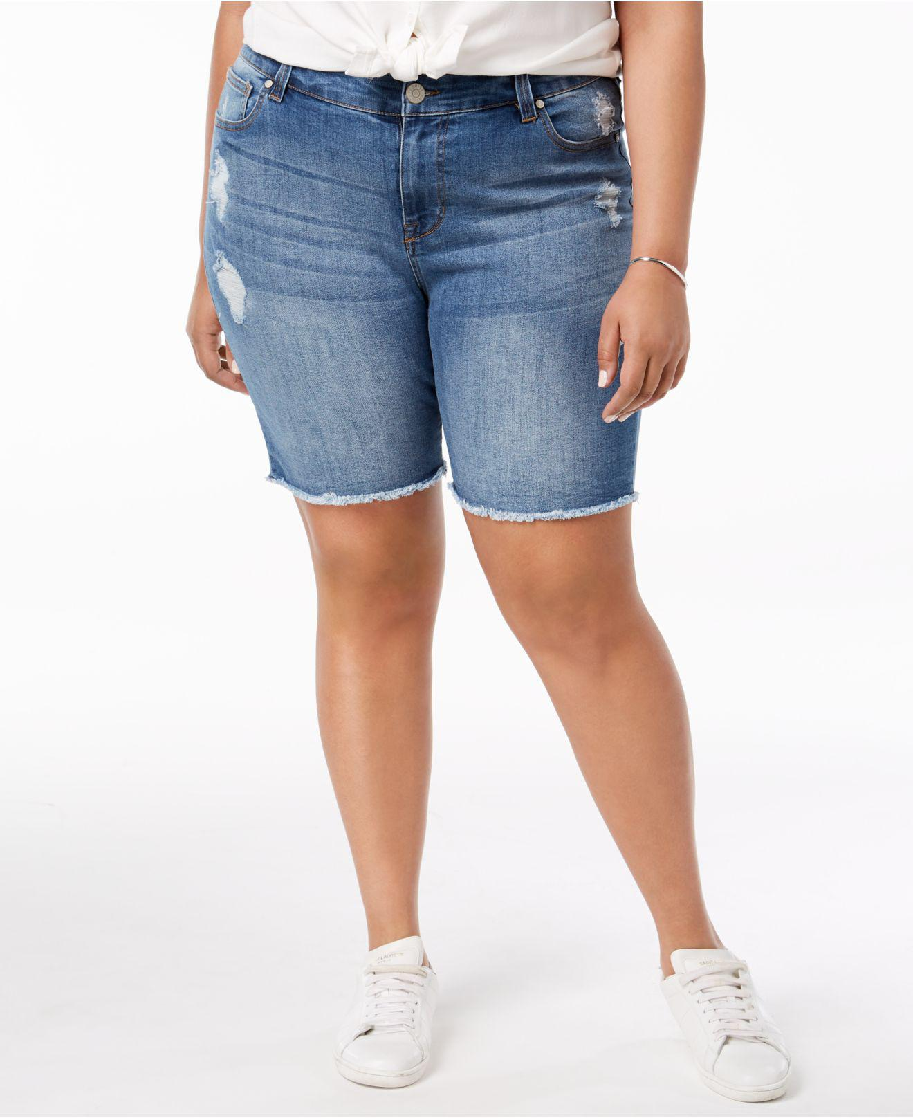 28b56c2727 Lyst - Celebrity Pink Plus Size Distressed Raw-hem Denim Shorts in Blue