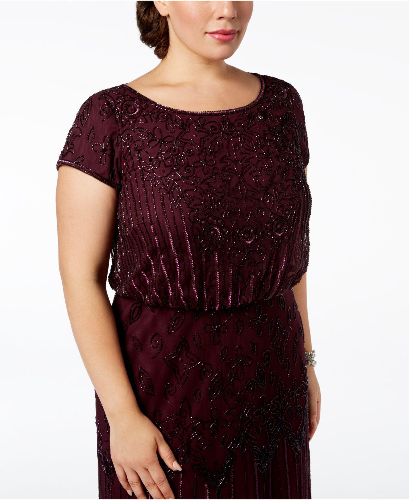 448da53f670bd Lyst - Adrianna Papell Plus Size Bead-illusion Blouson Dress