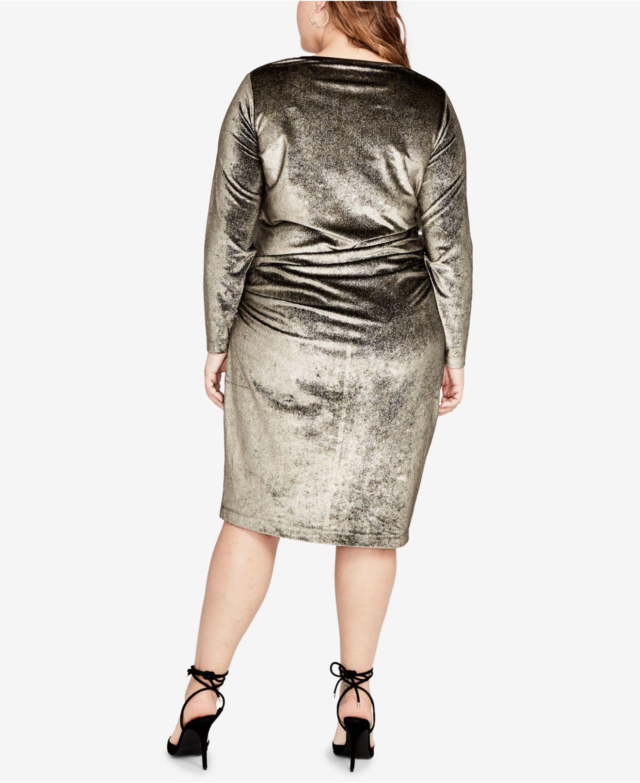 Curvy Plus Size Velvet Draped Dress