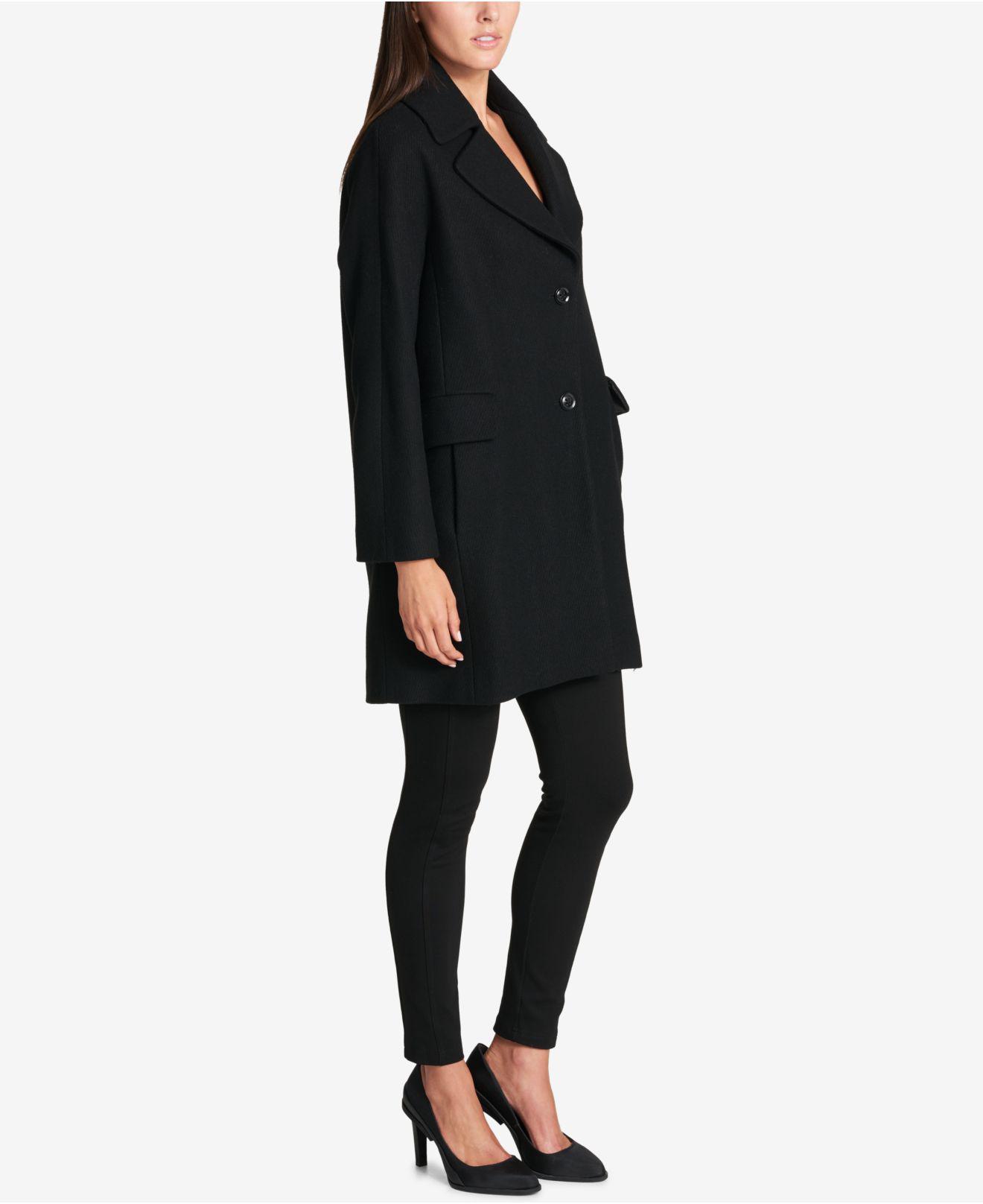 dfb74b472a0 Lyst - DKNY Single-breasted Wool-blend Walker Coat in Black