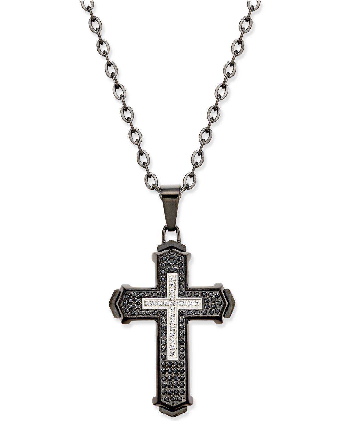 Macy S Men S Diamond Cross Pendant Necklace 1 2 Ct T W In Stainless Steel With Black Ion Plating In Silver Metallic For Men Lyst