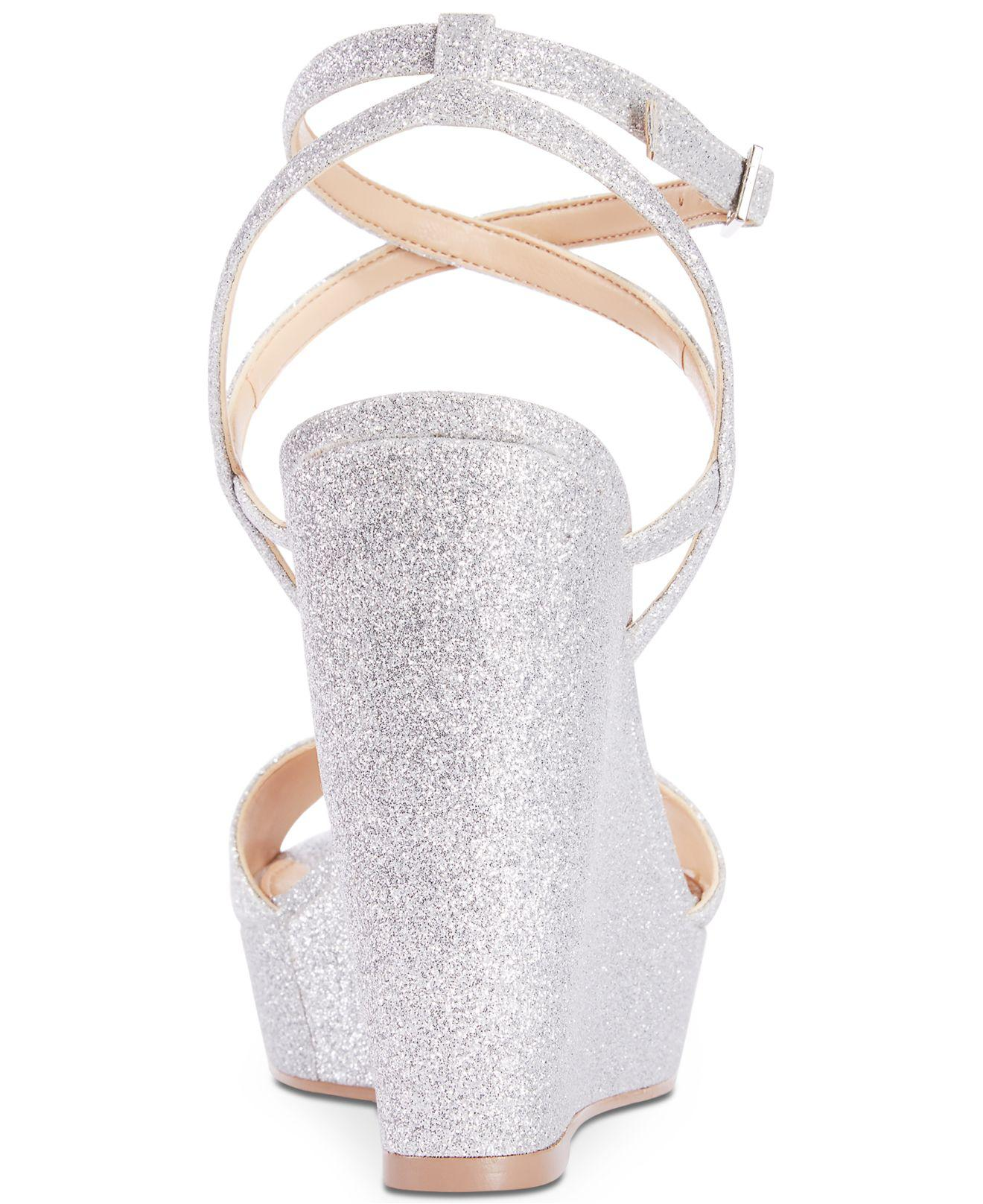 14b2a6cae91 Lyst - Badgley Mischka Ambrosia Glittered Wedge Evening Sandals in ...