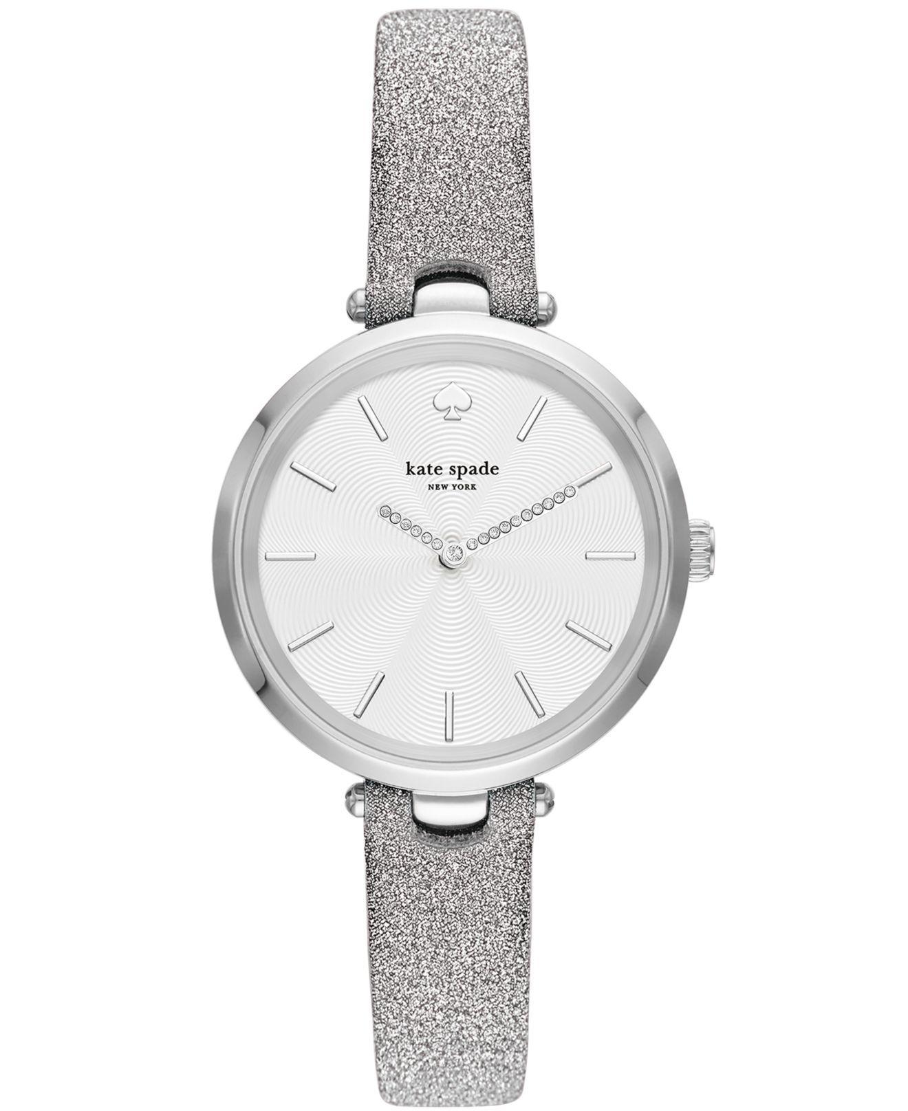 f11fe31fca9 Kate Spade - Metallic Holland Silver-tone Leather Strap Watch 34mm - Lyst.  View fullscreen