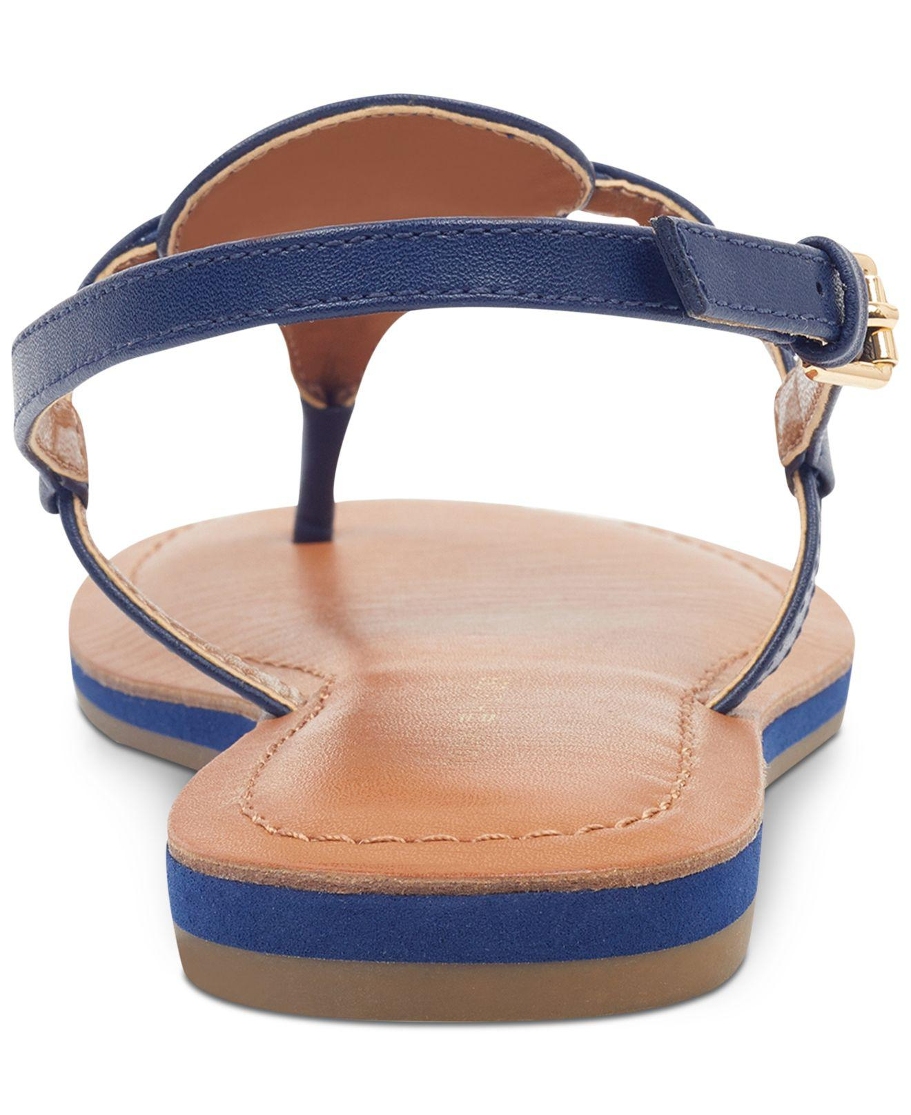 sneakers for cheap the latest half off Tommy Hilfiger Leather Genei Slingback Thong Sandals in Navy (Blue ...