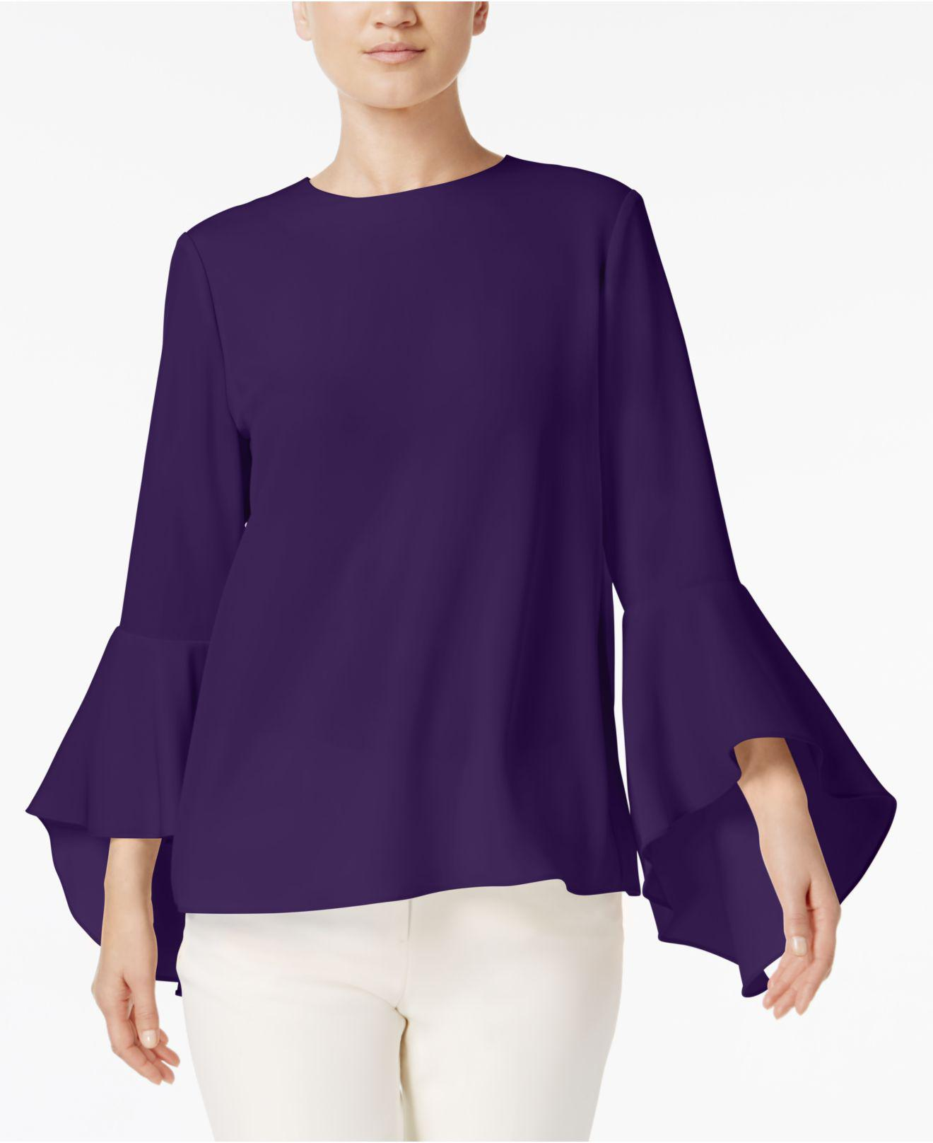 ad986d7e84a6f3 Olivia & Grace Button-back Bell-sleeve Blouse in Purple - Lyst