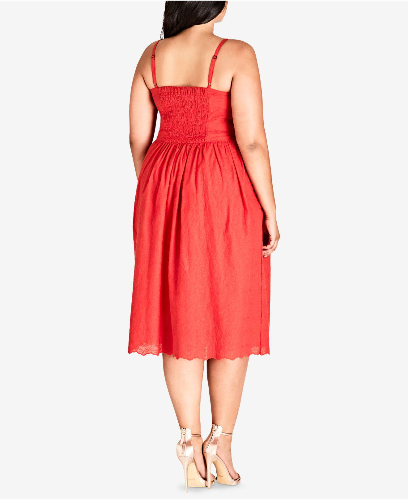 29b03ab3cf9 Lyst - City Chic Trendy Plus Size Cotton Embroidered Fit   Flare Dress in  Red