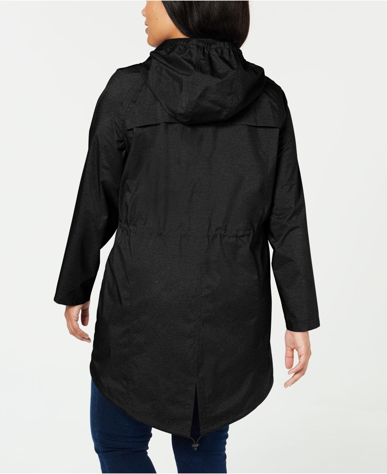 bdfef0bb4aa8a Lyst - 32 Degrees Plus Size Hooded Waterproof Anorak Raincoat in Black