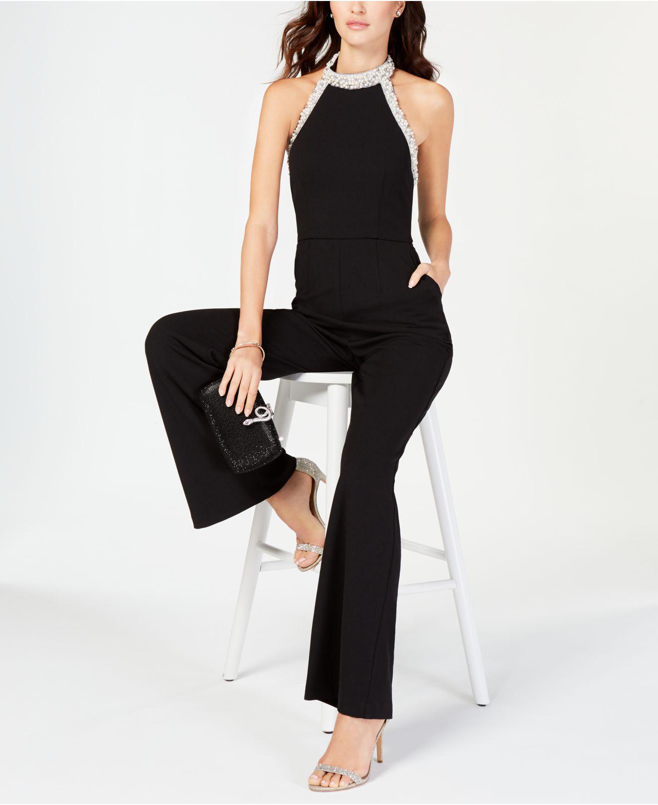 98fc58b601ac Adrianna Papell - Black Petite Beaded-halter Jumpsuit - Lyst. View  fullscreen