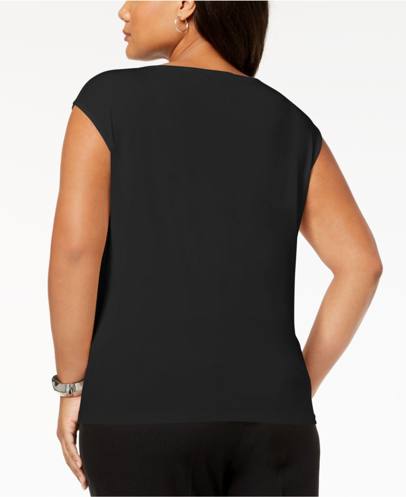 3be95dad3ad Lyst - Kasper Plus Size Crossover Cutout Top in Black