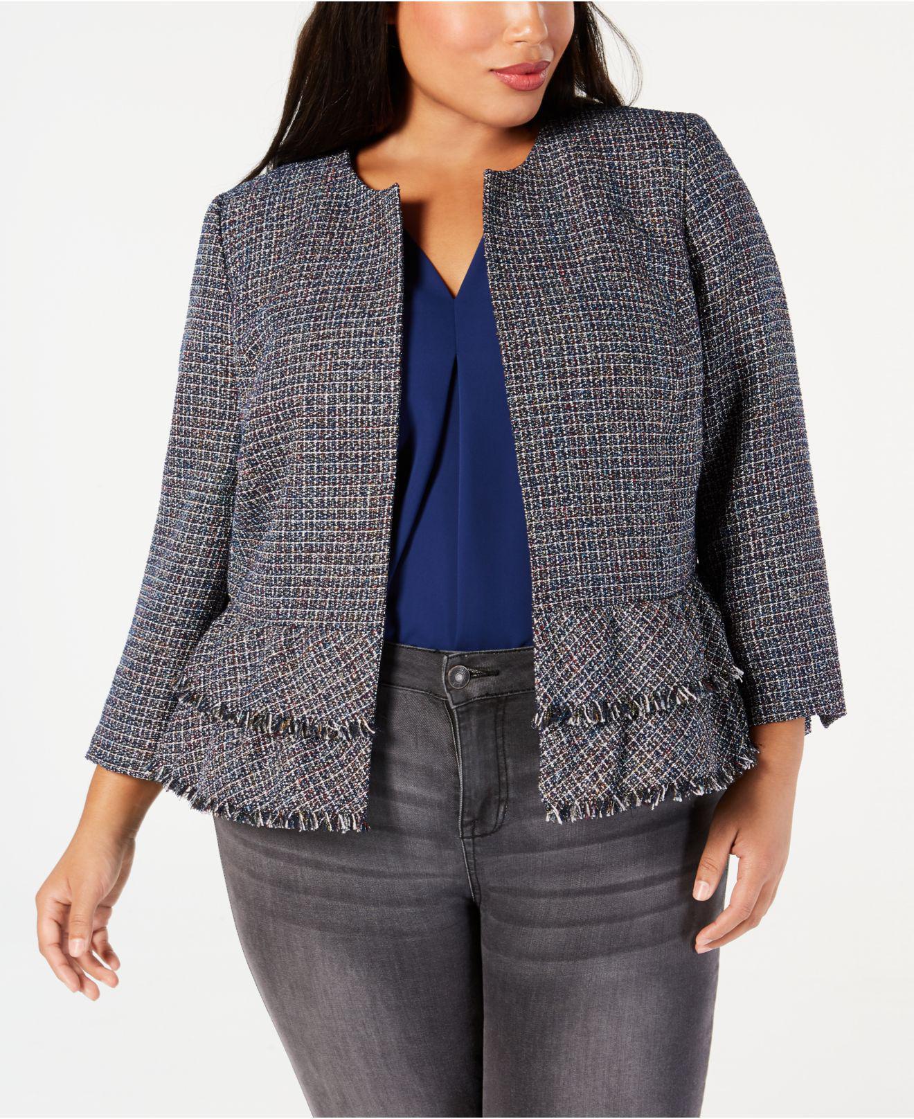 5687fc802f2 Lyst - Nine West Plus Size Tweed Peplum Hem Jacket in Gray