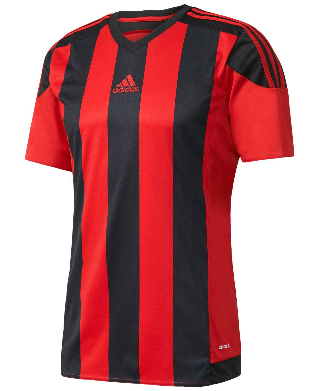 adidas Synthetic Climacool® Striped Soccer Jersey in Red/Black ...
