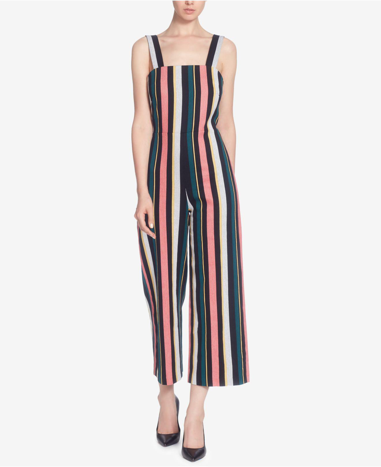 685f4af34a6 Lyst - Catherine Malandrino Striped Cotton Jumpsuit in Blue