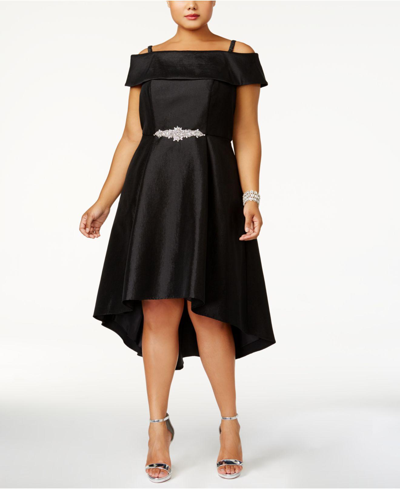 Lyst Xscape Plus Size Off The Shoulder High Low Dress In Black