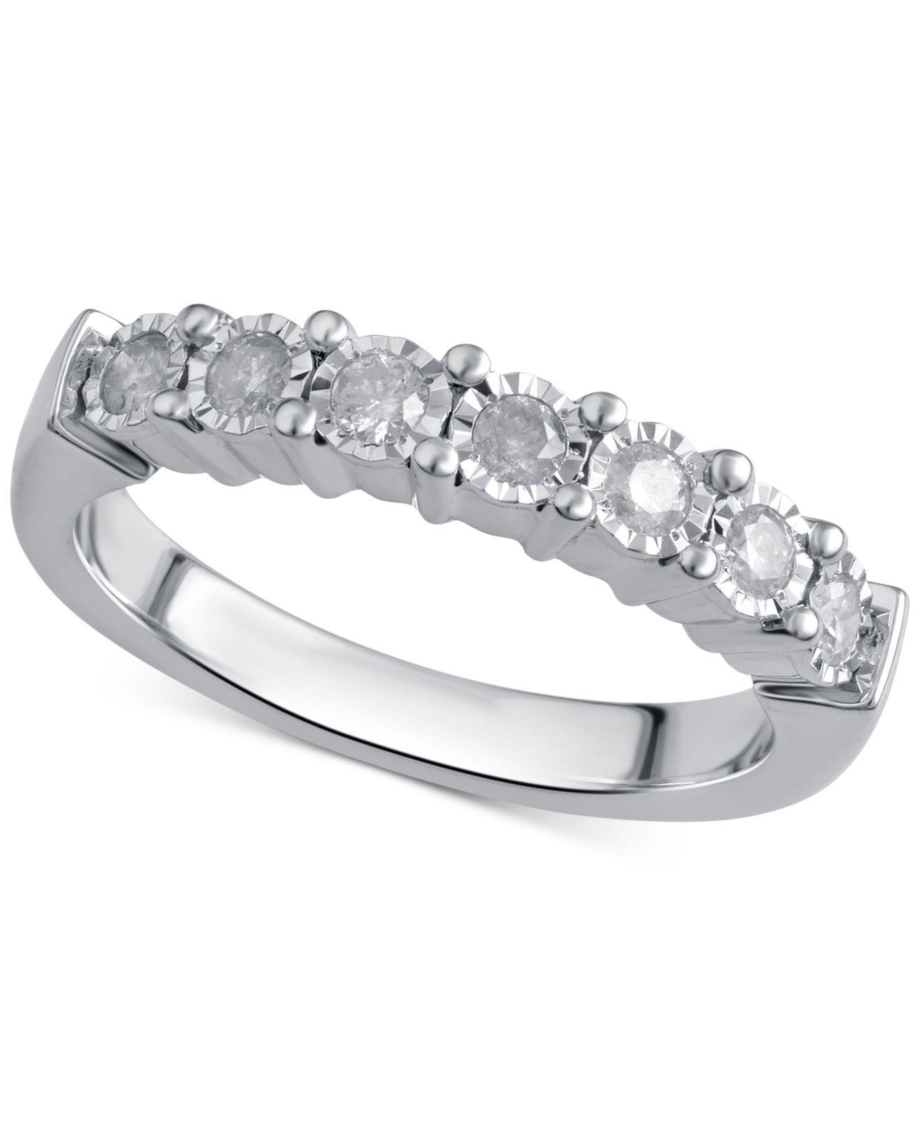 d503726fc Lyst - Macy's Diamond Band (1/4 Ct. T.w.) In Sterling Silver in Metallic