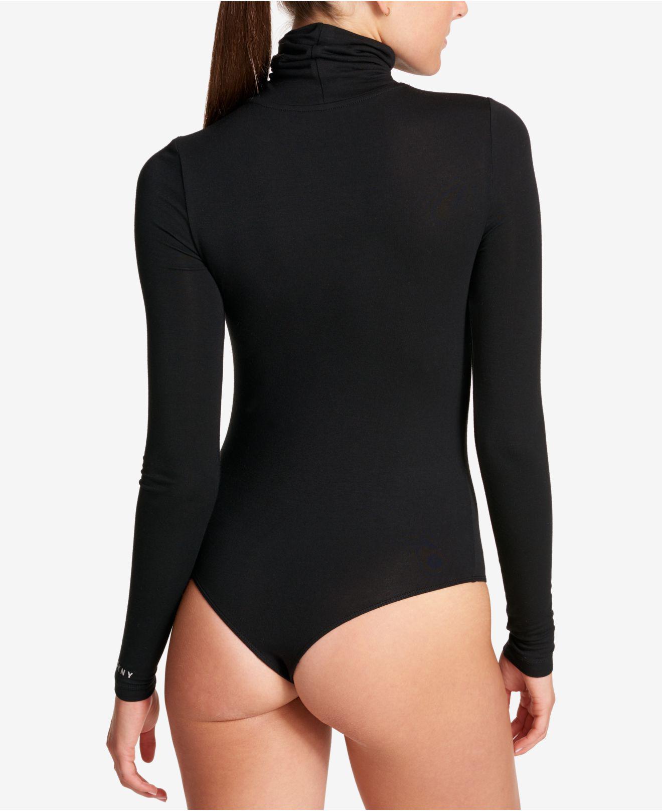 e89155cf725 Lyst - DKNY Turtleneck Active Bodysuit in Black