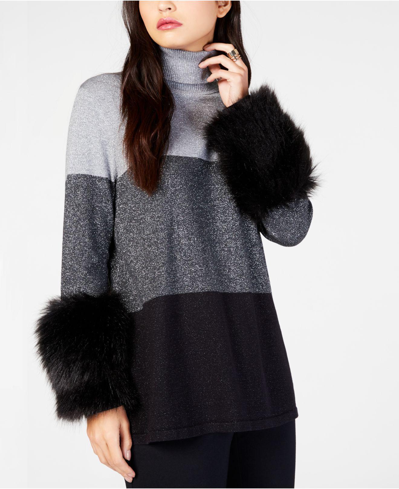 Alfani Womens Plus Metallic Faux Fur Turtleneck Sweater