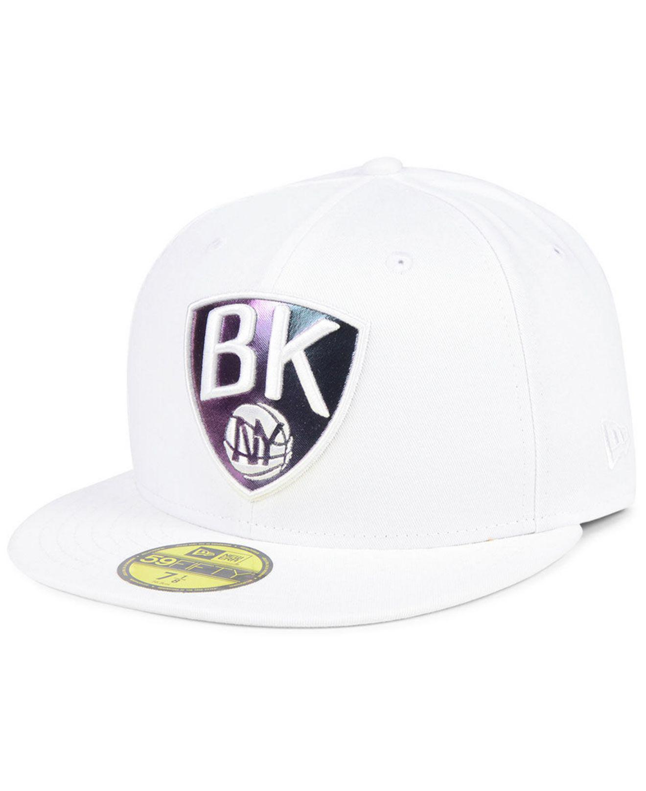 free shipping 234de f303c ... germany ktz. womens white brooklyn nets iridescent combo 59fifty fitted  cap bd595 2b416
