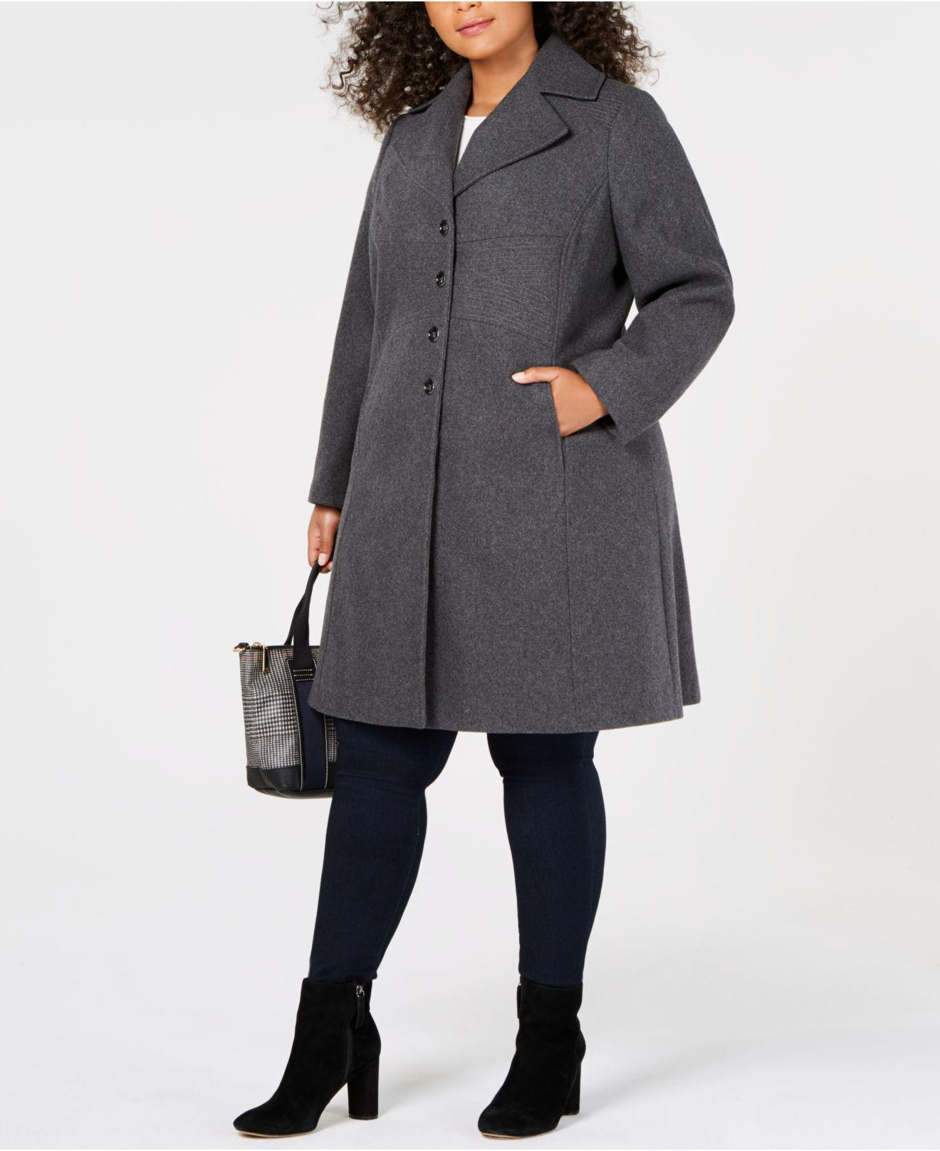ab6ec0a03a43c Lyst - Tommy Hilfiger Plus Size Single-breasted Coat in Gray - Save ...