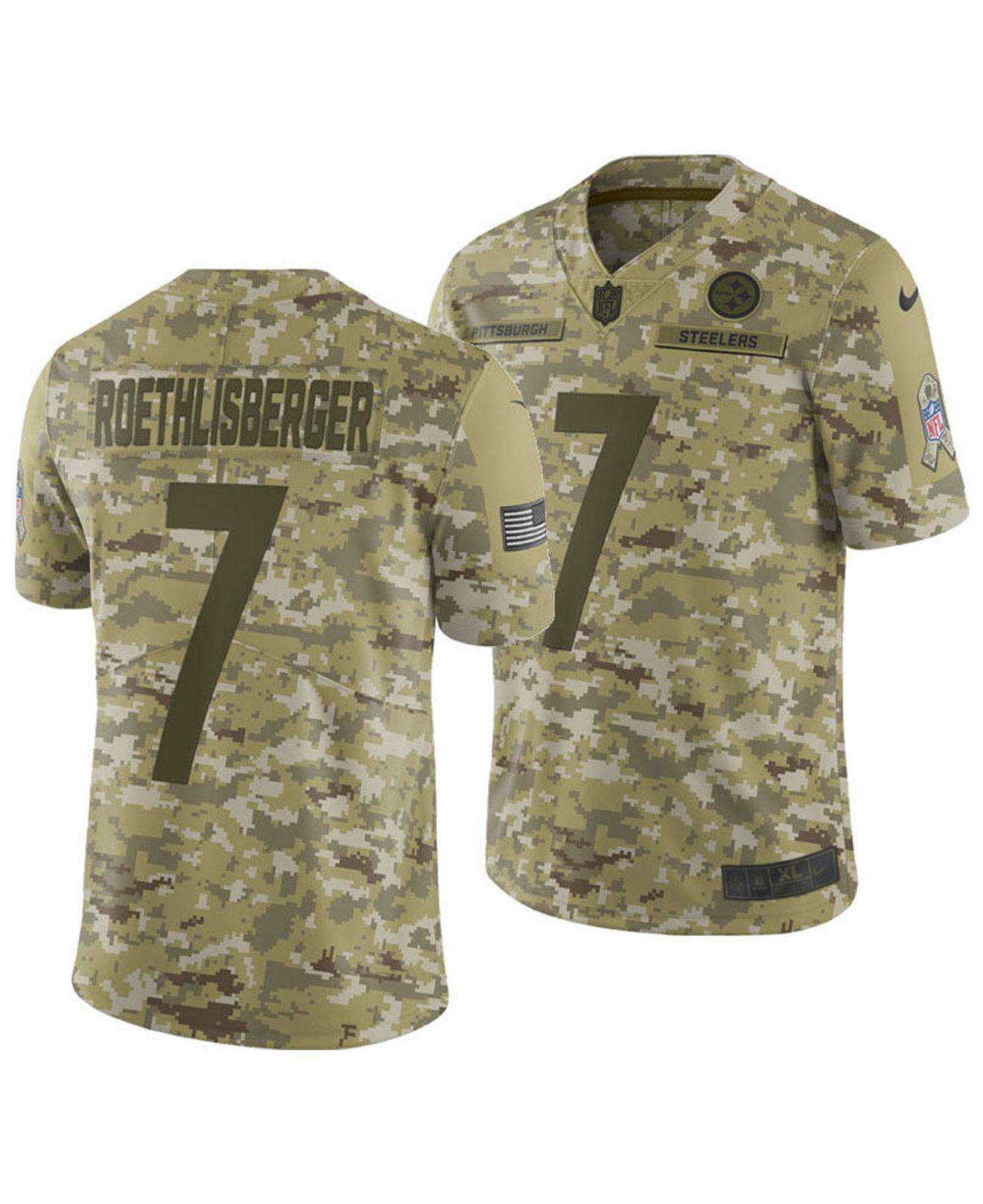 Ben Roethlisberger Pittsburgh Steelers Game Jersey Camo