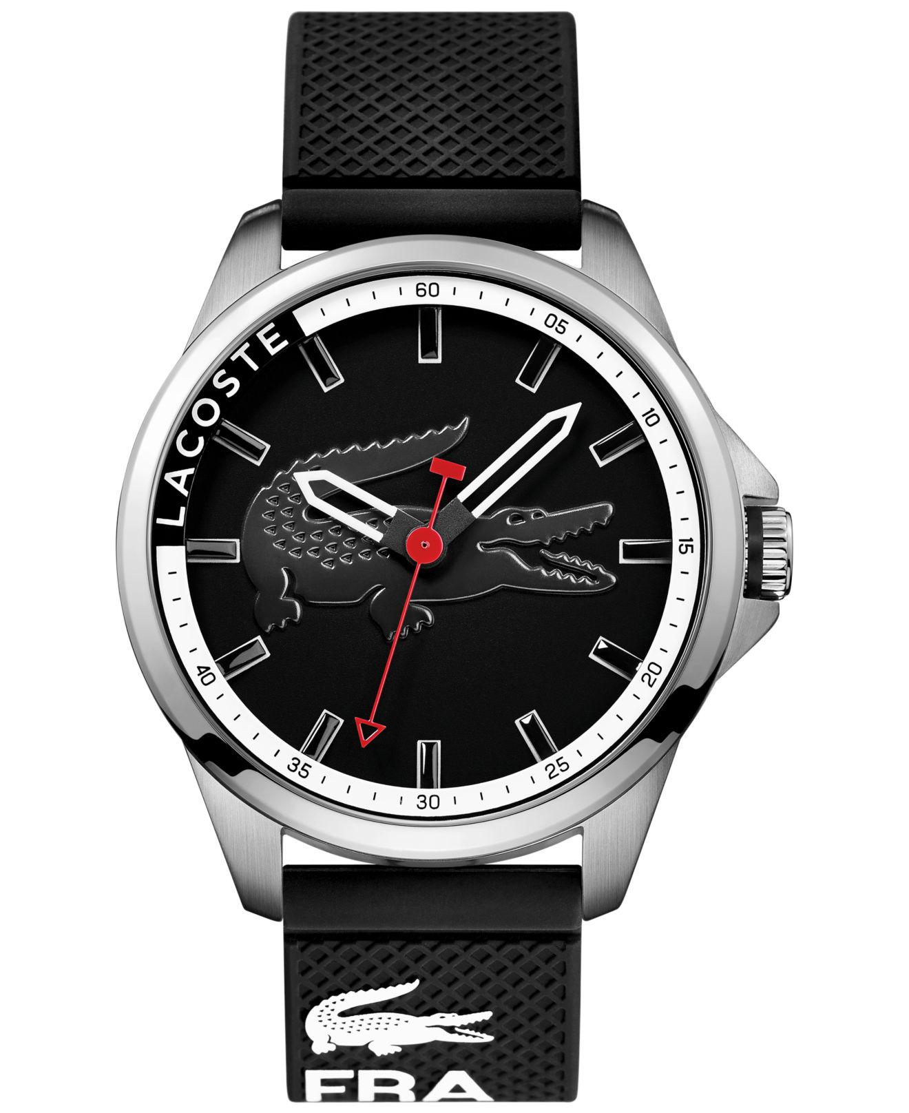 Lacoste. Men's Capbreton Black Silicone Strap Watch ...