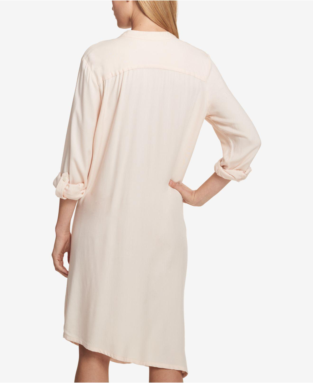 88ea47d575 Lyst - DKNY Side-tie Roll-tab Shirtdress in Natural