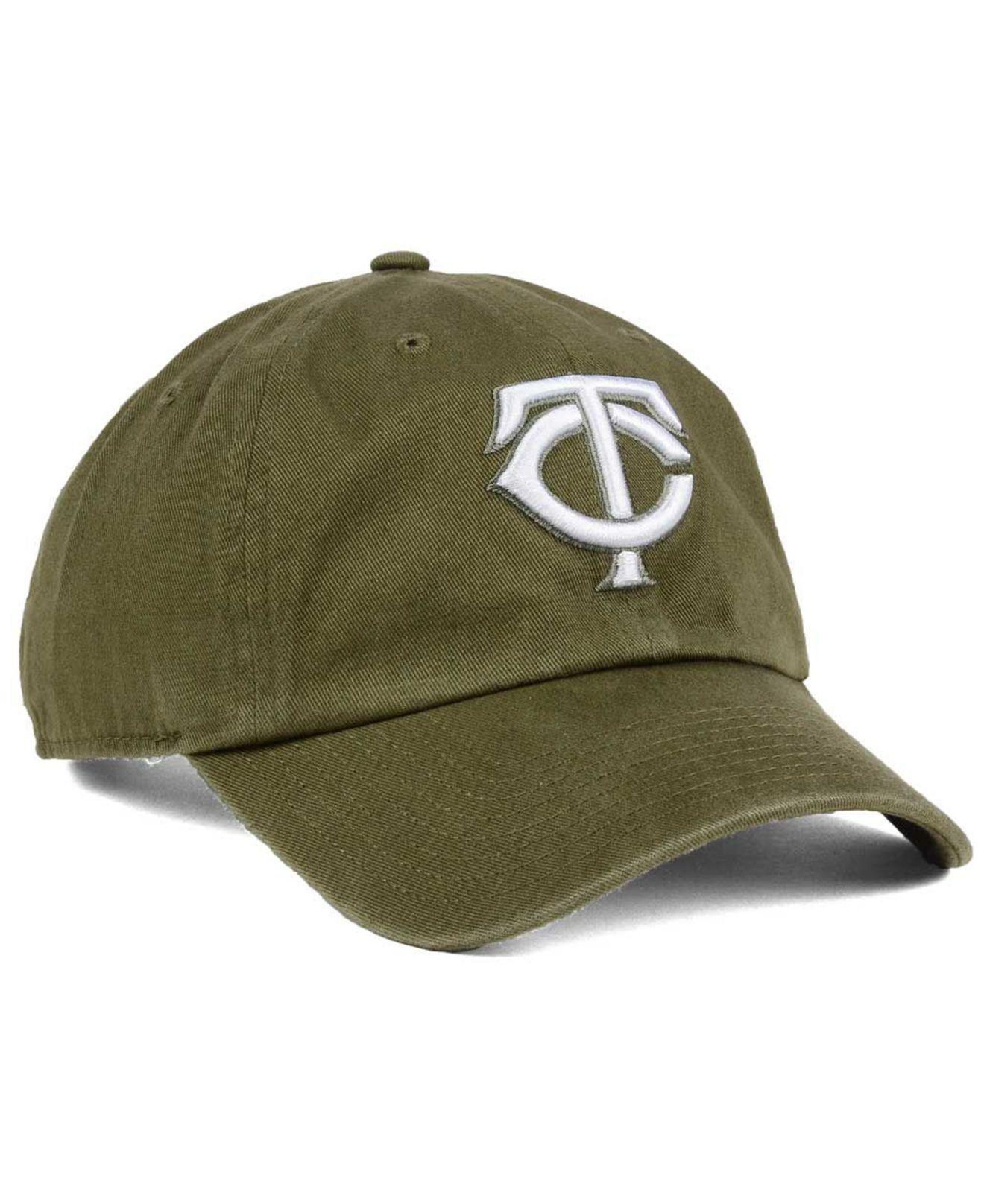 sports shoes f04d3 63746 wholesale 47 brand green minnesota twins olive white clean up cap for men  lyst. view