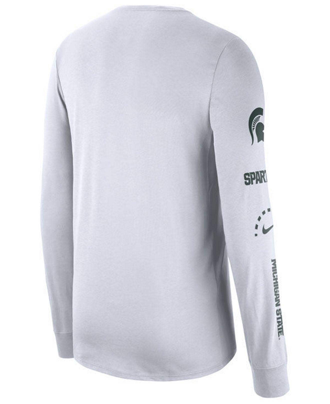 9c578d996c7 Lyst - Nike Michigan State Spartans Long Sleeve Basketball T-shirt in White  for Men